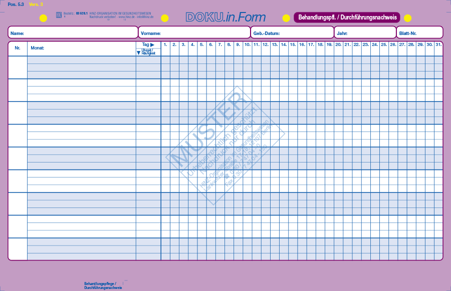 behandlungspflege durchfhrungsnachweis - Pflegedokumentation Muster
